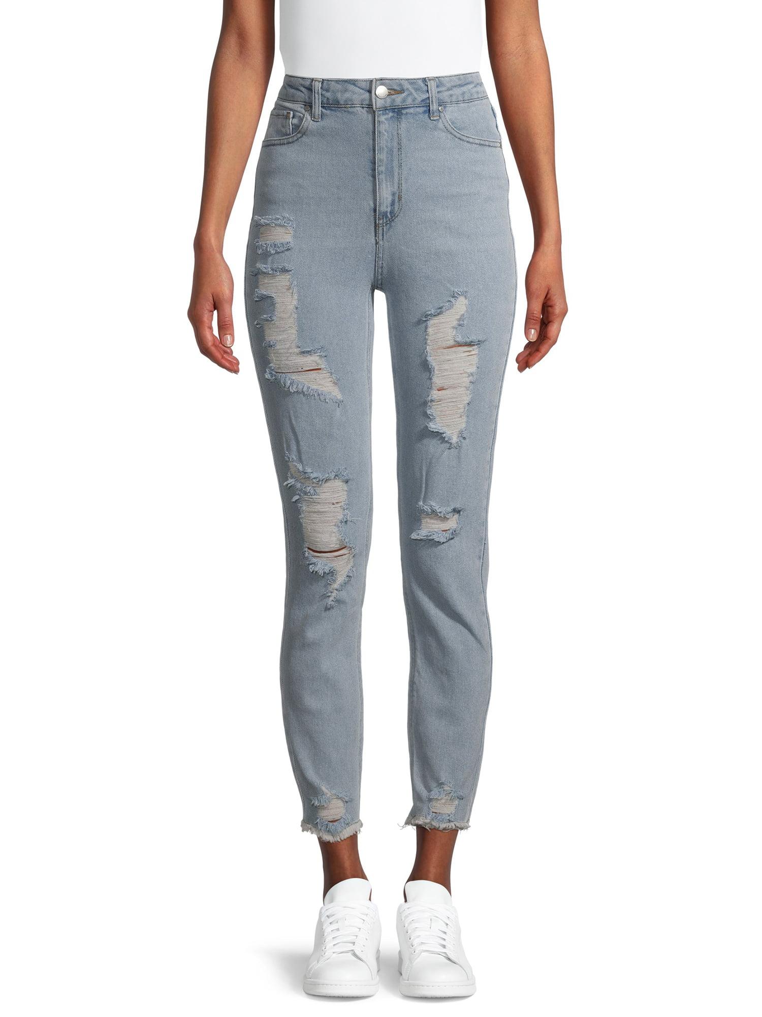 Juniors' Destructed Mom Jeans