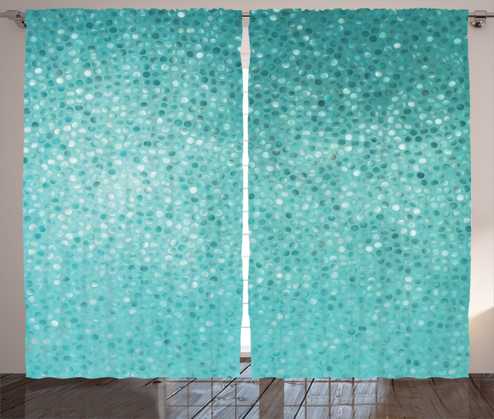 Turquoise Decor Curtains 2 Panels Set, Small Dot Mosaic Tiles Shape Simple  Classical Creative Artful Fun Design, Living Room Bedroom Accessories, By  ...