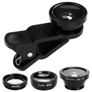 Universal Phone  lens kit, Fisheye + Wide Angle + Macro  Lens Kit Clip On for iPhone & Android
