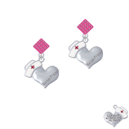 Nurse's Prayer Heart - Lord Guide Hot Pink Crystal Diamond-Shape Earrings