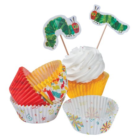 IN-13733812 Eric Carle's The Very Hungry Caterpillar Cupcake Wrappers w/ - Caterpillar Cupcakes