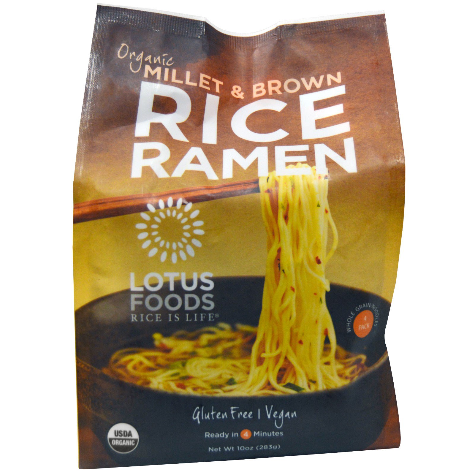 Lotus Foods, Organic Millet & Brown Rice Ramen, 4 Packs, 10 oz(pack of 12)