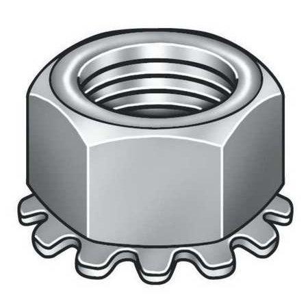 GRAINGER APPROVED #8-32 Grade 2 Zinc Plated Finish Steel Tooth Washer Lock Nut, 100 pk., KEPI0-80-100P ()