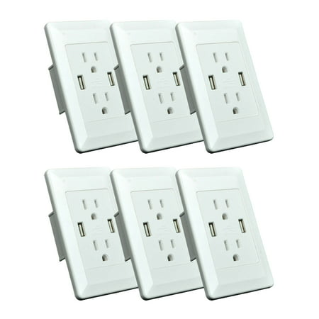 GREENCYCLE 6PK 2A 5V Dual USB Port Electric Wall Charger AC Power Outlet Panel Plate Dock Station Socket Duplex Receptacle White (Analog Duplex Panel)