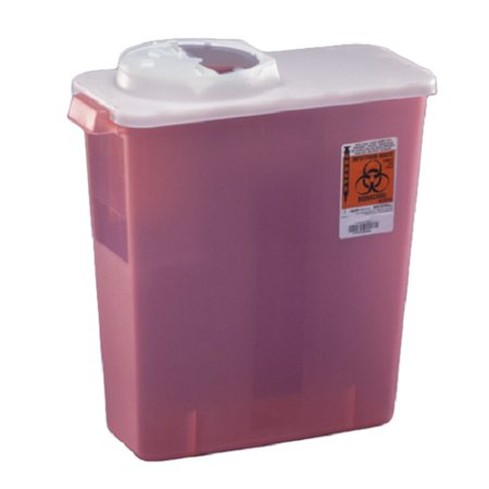 Sharpsafety dialysis sharps disposal container with rotor and hinged opening lid 3 gallon part no. 8964 (1/ea)