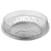"""Durable Packaging 9"""" Aluminum Foil Pie Pan Plate Tin 1-5/16"""" Deep w/Clear Plastic Dome Lid Cover (pack of 50)"""