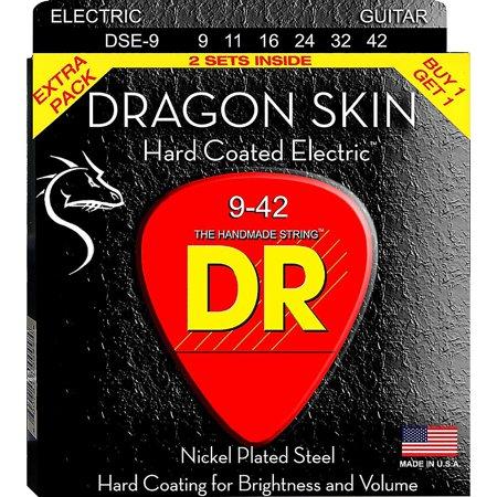 DR Strings Dragon Skin (2 Pack) Light Coated Electric Guitar Strings (9-42) Dragon Skin Coated Light