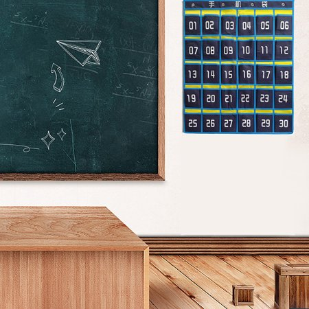 Numbered Classroom Pocket Chart For Cell Phones and Calculator Holder (Calculator Roll Holder)