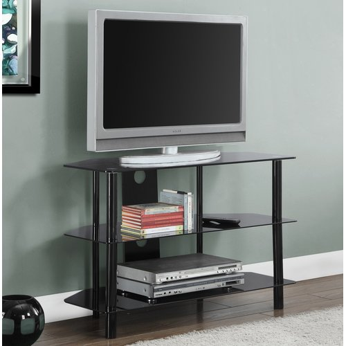 "Monarch Tv Stand Black Metal With Tempered Black Glass For TVs Up To 36""L"