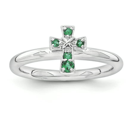 Sterling Silver Stackable Expressions Rhodium Created Emerald Cross Ring Size 10 - image 1 de 3