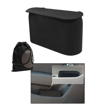 Javoedge black small car trash can with lid flexible material fits in most side doors - Small trash can with lid ...