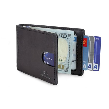 Travel Wallet RFID Blocking Bifold Slim Genuine Leather Thin Minimalist Front Pocket Wallets for Men Money Clip - Made From Full Grain Leather (Charcoal Black