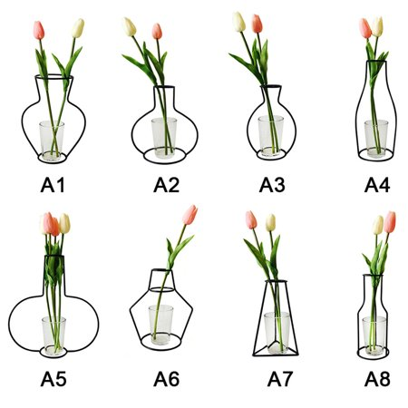 Ins explosion models dry flower vase creative wrought iron vase decoration artificial flower flower arrangement A4 (F section) 10*24 without cup ()
