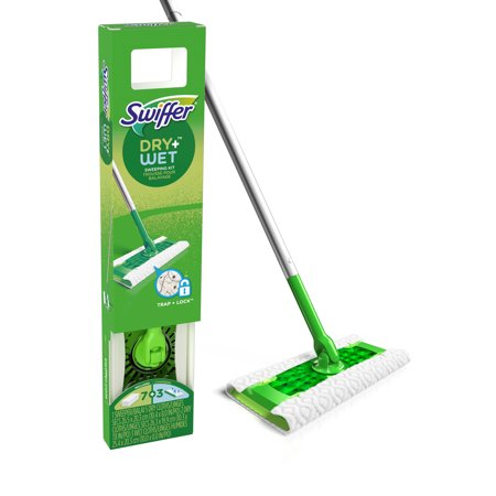 Swiffer Sweeper Dry + Wet All Purpose Floor Mopping and Cleaning Starter Kit with Heavy Duty Cloths, Includes: 1 Mop, 10 Refills Floor Cleaning Sweeper Tool