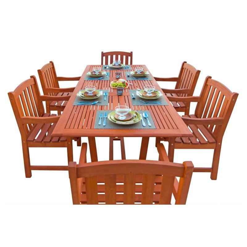 Vifah Airblade 7 Piece Wood Patio Dining Set