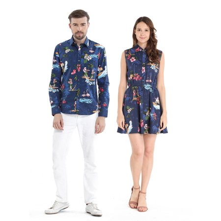Couple Matching Hawaiian Luau Cruise Outfit Shirt Dress Christmas Santa in Hawaii Navy Men M Women XL