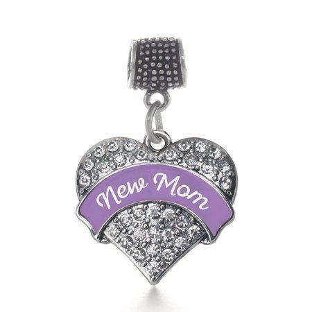 Purple Kids Charm - Purple New Mom Pave Heart Memory Charm
