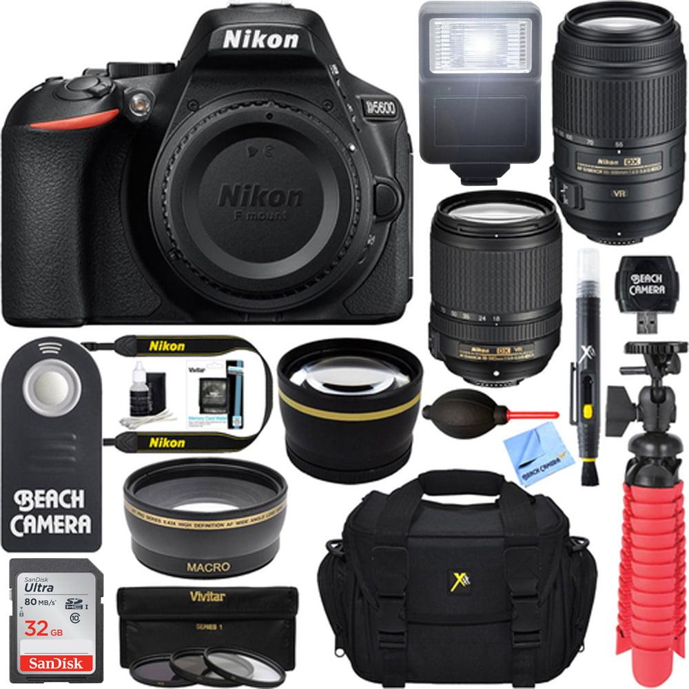 Nikon D5600 24.2MP DX-Format DSLR Camera + AF-S 18-140mm & 55-300mm ED VR Lens + Accessory Bundle