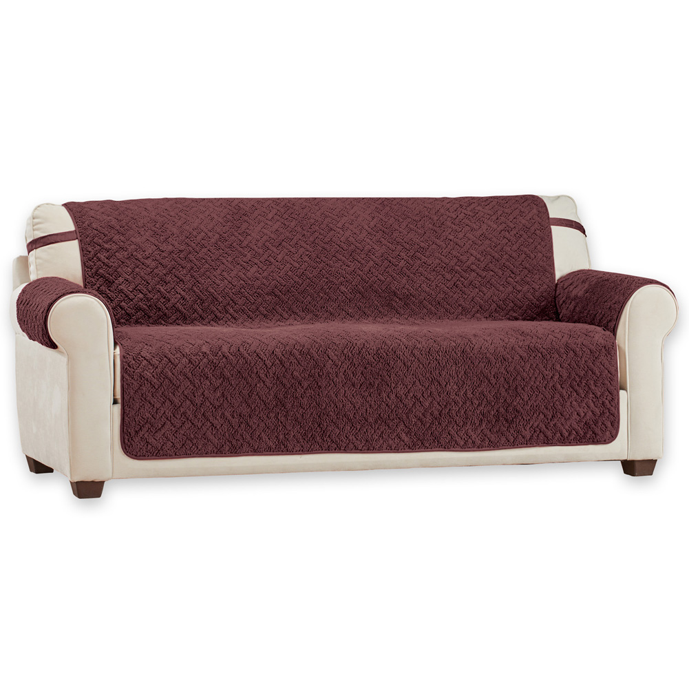Basketweave Soft Sherpa Furniture Cover Protector with Straps - Reversible Side Provides Extra Durability, Sofa, Chocolate