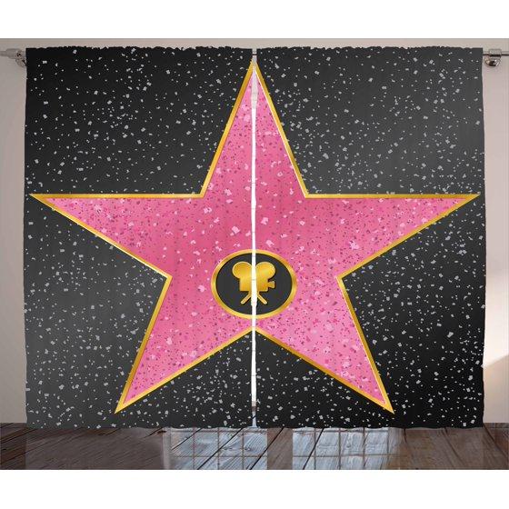 Popstar Party Curtains 2 Panels Set, Hollywood Walk of Fame Symbol ...