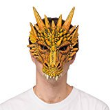 Supersoft Fantasy Adult Dragon Half Face Halloween Mask (Orange)