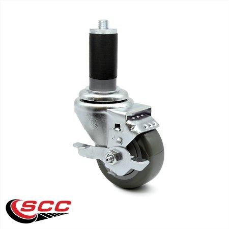 Service Caster 3 x 1 25 Gray Polyurethane Wheel Swivel Caster w 1 1 2