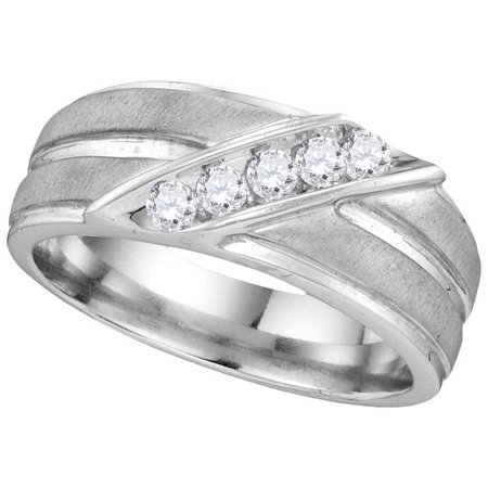 Size - 10 - Solid 10k White Gold Round White Diamond Men's Channel Set 5 Stones Wedding Band OR Fashion Ring (1/4 cttw)
