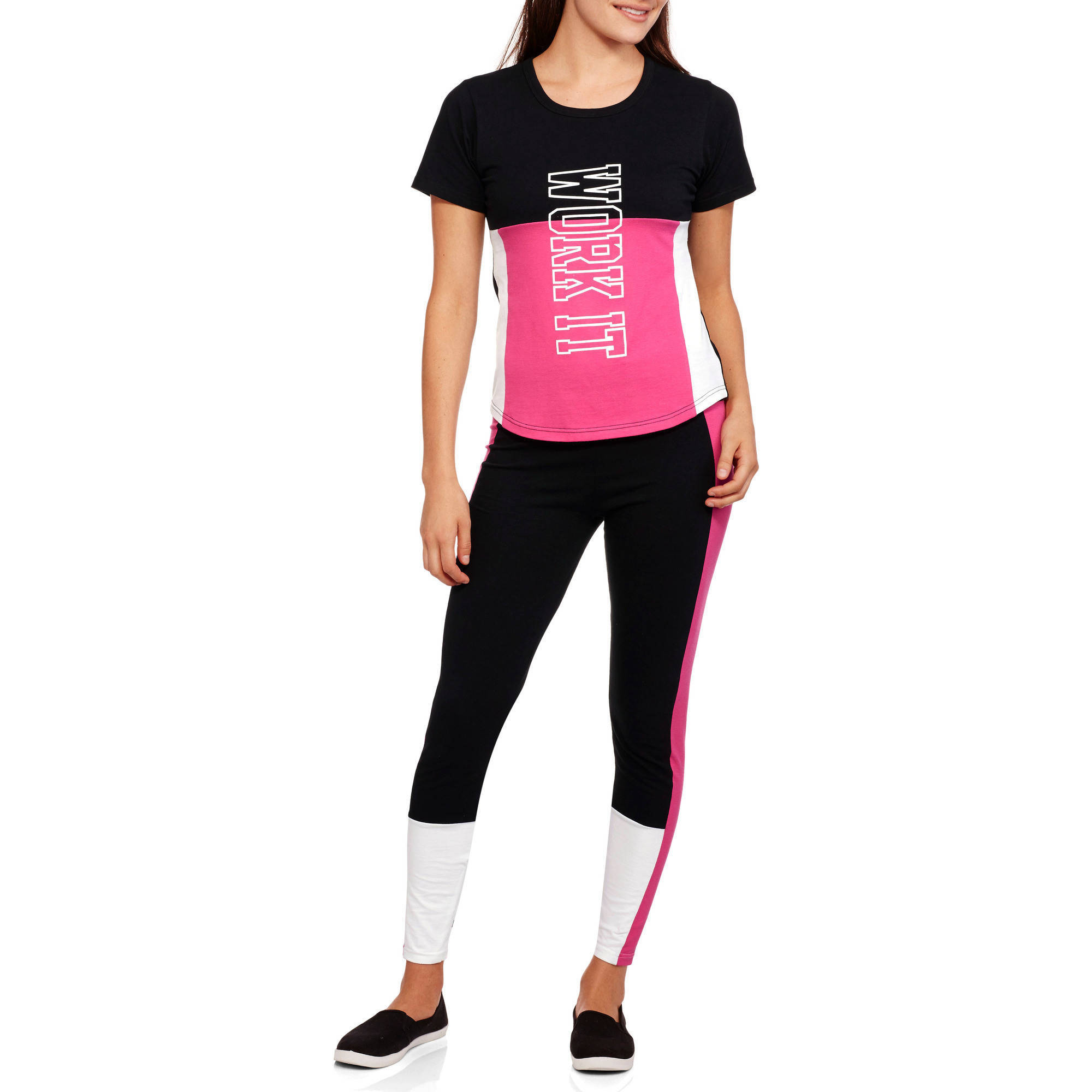 """Women's Fitspiration """"Work It"""" Active T-Shirt and Colorblock Leggings Set"""