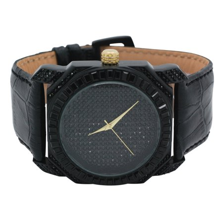 Mens Ice Master Full Row Black One Row Baguette Cut Stones Full Black Illusion Dial with Leather (Leather Band Stones)