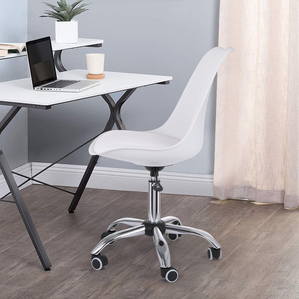 White Armless Office Chair Mid Back Leather Adjustable Height Walmart Com Walmart Com