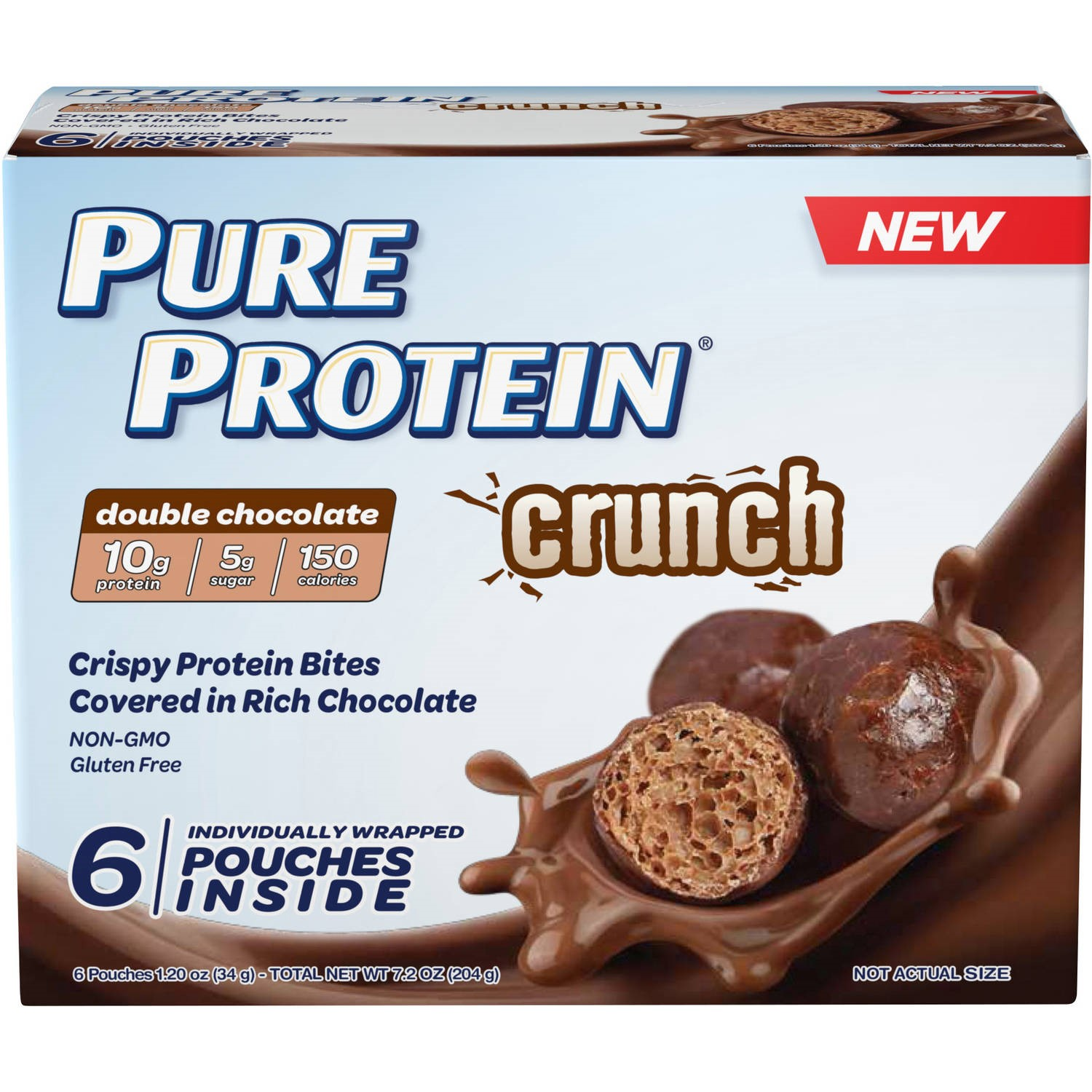 Pure Protein Crunch Bites, 10 Grams of Protein, Double Chocolate, 1.2 Oz, 6 Ct