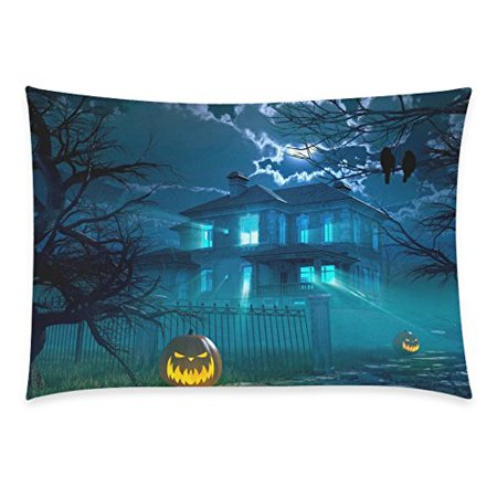 ZKGK Halloween Night with Haunted Scary House Crows Pumpkin Party Zippered Cushion Pillowcase 20 x 30,Cotton Soft Pillow Cases Cover Set Shams Decorative](Halloween Scary Pumpkin Makeup)