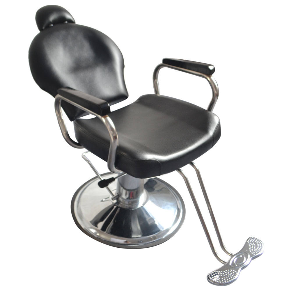 Zimtown Reclining Hydraulic Barber Chair, Heavy Duty Classic All Purpose  Barbershop Black Chair With Headrest