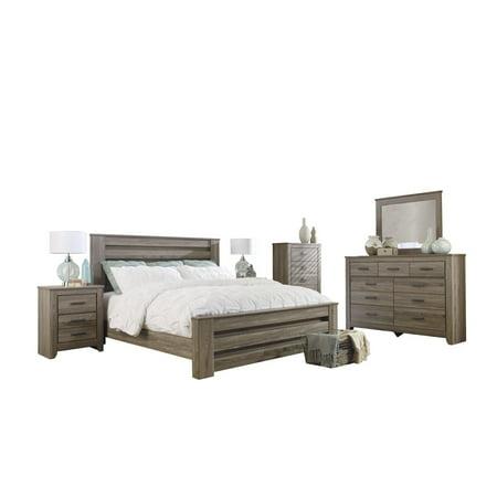 Ashley Furniture Zelen 6 Pc Queen Panel Bedroom Set W 2 Nightstand