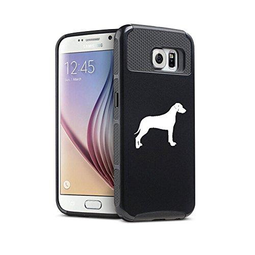For Samsung Galaxy (S6 Edge) Shockproof Impact Hard Soft Case Cover Rhodesian Ridgeback (Black)