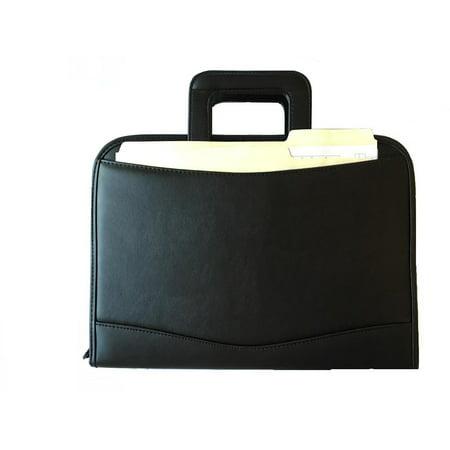ImpecGear Zippered Executive Ring Binder Portfolio Padfolio, W/ Smart Handle, Build-In Calculator (Black) Black Calculator Padfolio
