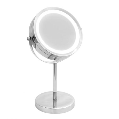 Lighted Vanity Makeup Mirror - HERCHR Makeup LED Illuminated Magnifying Round Dual Sided Vanity Cosmetic Mirror, Lighted Makeup Mirror, Magnifying Makeup Mirror- Gift for Women/Lady/Girlfriend