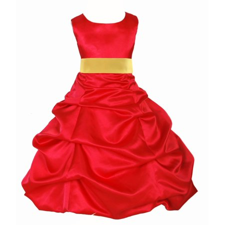 Ekidsbridal Red Satin Pick-Up Bubble Flower Girl Dresses Formal Special Occasions Dresses Wedding Pageant Recital Reception Party Ball Gown Graduation Birthday Girl Ceremony Princess 806S