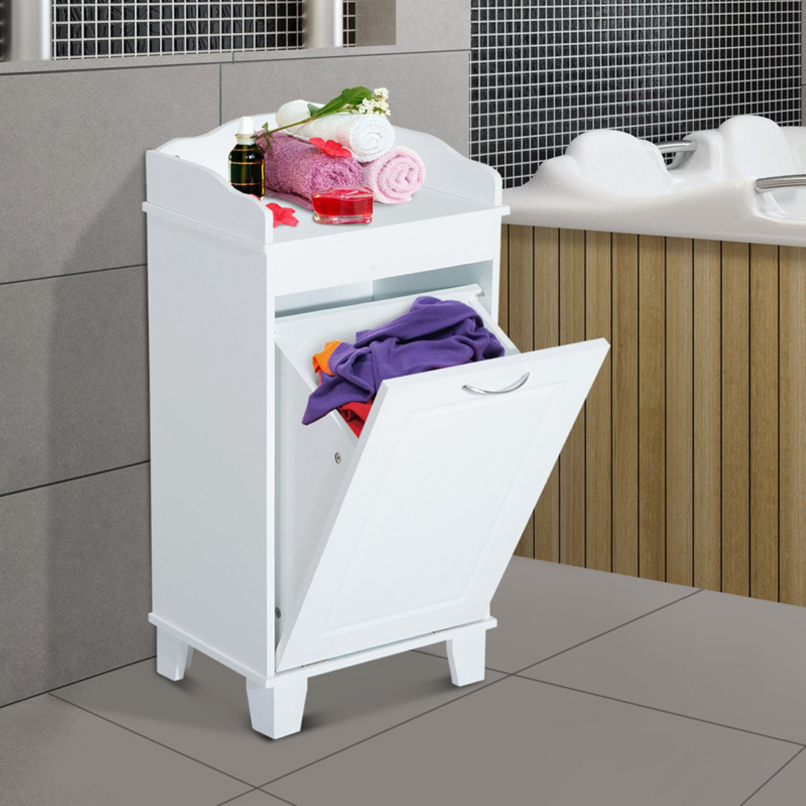 HomCom Wood Laundry Hamper Cabinet by Aosom