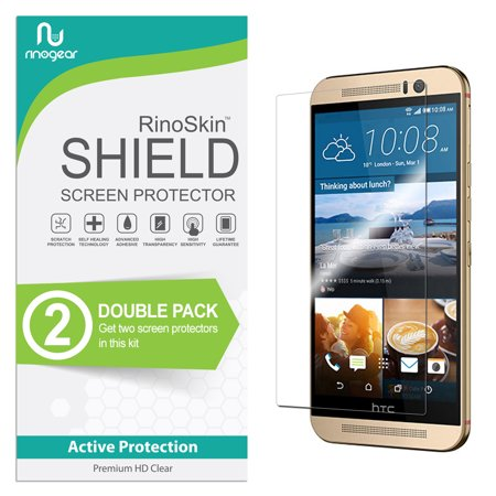 (2-Pack) HTC One M9 Screen Protector RinoGear Flexible HD Invisible Clear Shield Anti-Bubble Unlimited Replacement Film (Hkc Replacement Screen)