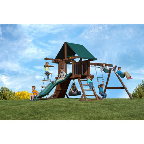 Kids Creations Redwood Two Ring Adventure Swing Set