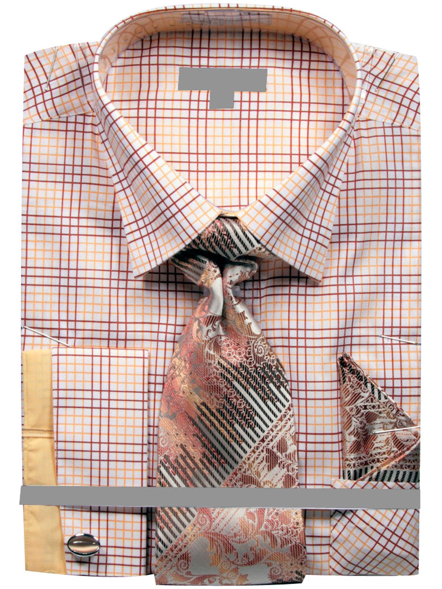 Men's Grid Checker Pattern French Cuff Shirt Tie Handkerchief Cuff Links