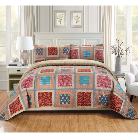 (Fancy Linen 2pc Twin/Twin Extra Long Over Size Quilted Coverlet Bedspread Set Patchwork Floral Squares Beige Taupe Red Blue Brown New # Bailey)