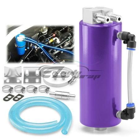 Purple High Capacity Aluminum Engine Oil Catch Tank Reservoir Breather Can  #1