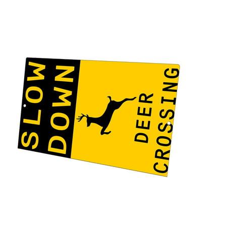 KuzmarK Yard Lawn Fence Sign - Slow Down Deer Crossing ()