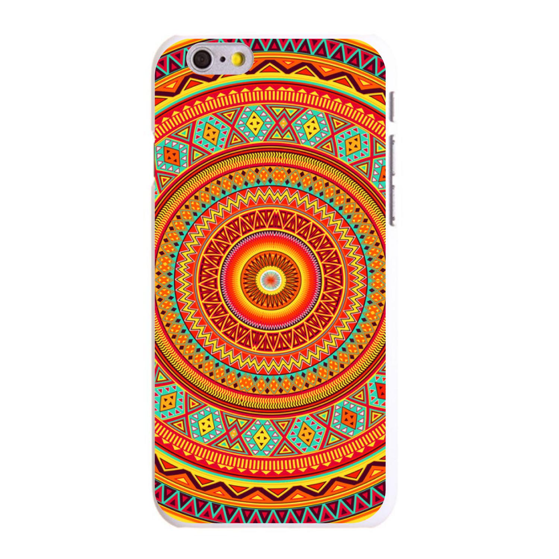 "CUSTOM White Hard Plastic Snap-On Case for Apple iPhone 6 / 6S (4.7"" Screen) - Orange Teal Yellow Tribal Print"