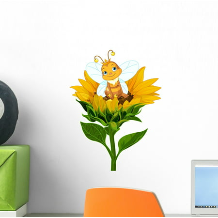 Bee Decals (Queen Bee Sunflower Wall Decal Wallmonkeys Peel and Stick Decals for Girls (12 in H x 9 in W) WM502721)