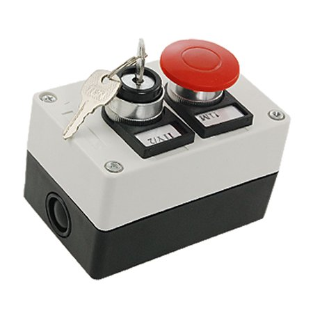 - 2 in 1 Rotary Key Lock Red Mushroom Push Button Switch