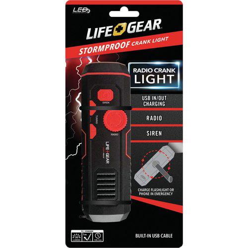 Life+gear Lg38-60675-red 120-lumen Stormproof Usb Crank Flashlight & Radio by Life Gear