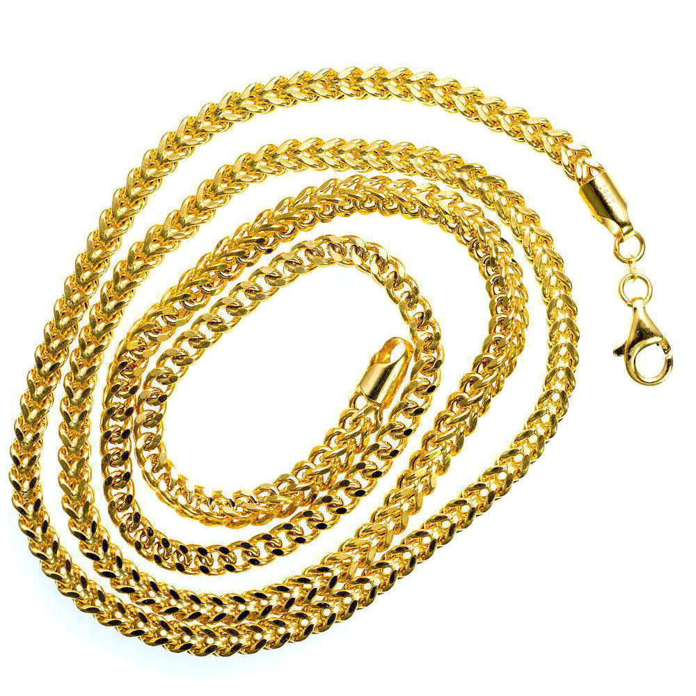 Mens Franco Link Real Solid  14K Yellow Gold  34.4 gram 4.5 mm  Necklace 26 inches